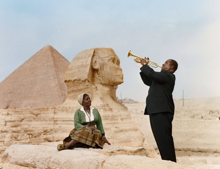Louis Armstrong plays to his wife, Lucille, in Cairo, Egypt 1961