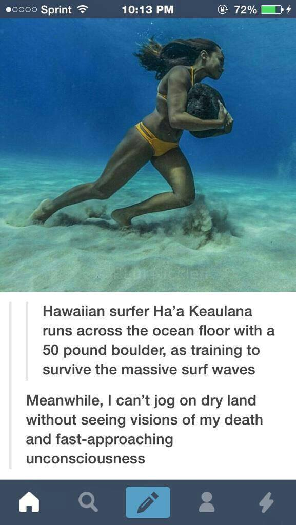 Hawaiian surfer Ha'a Keaulana runs across the Ocean floor with 50 pound boulder.