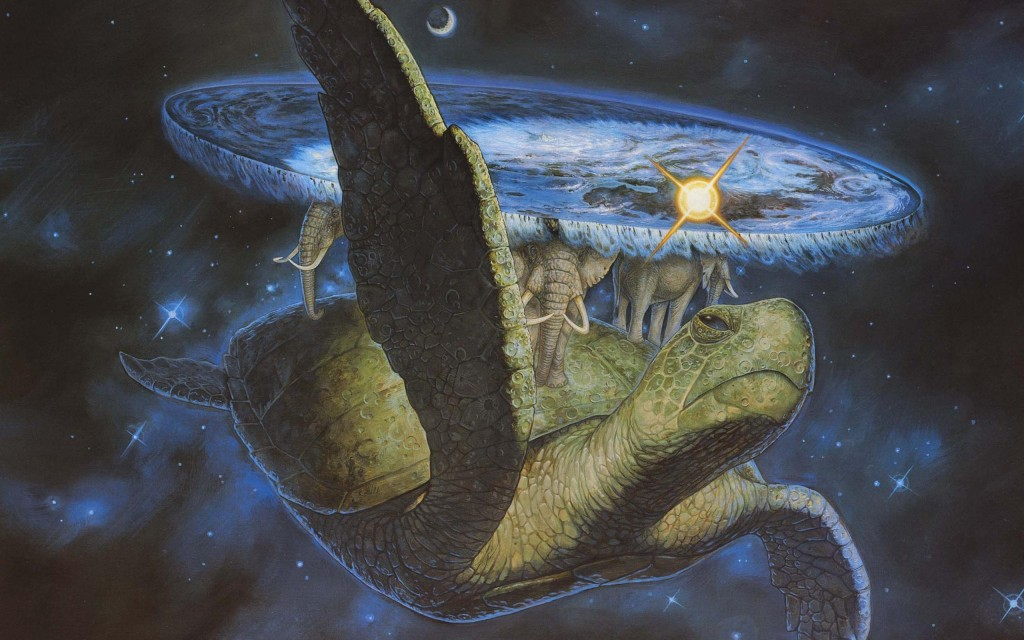 """In a distant, and second hand set of dimensions througt wavering star mists, see, the Great A'Tuin. Drifting onwards through space, atop the shell of great turtle, are four giant elephants, upon whose broad shoulders rests... The DiscWorld."""