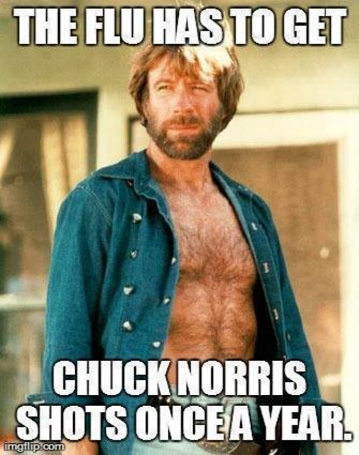 The Flu has to get Chuck Norris shots once a year