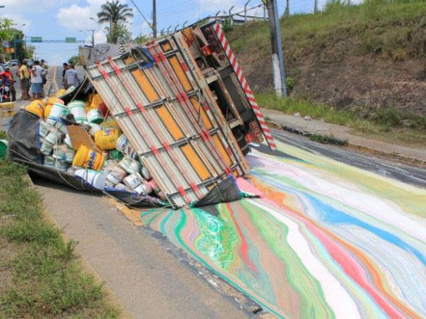 A colour loaded truck fallen on the road