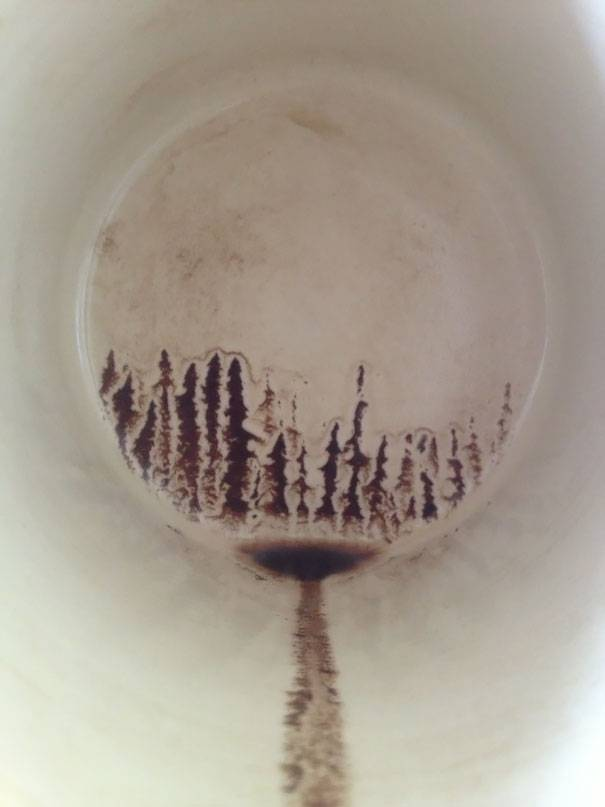 Silhouette formed by last sip of Coffee