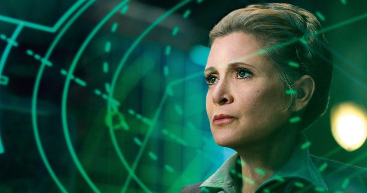 Carrie Fisher as Princess Leia in The Force Awakens
