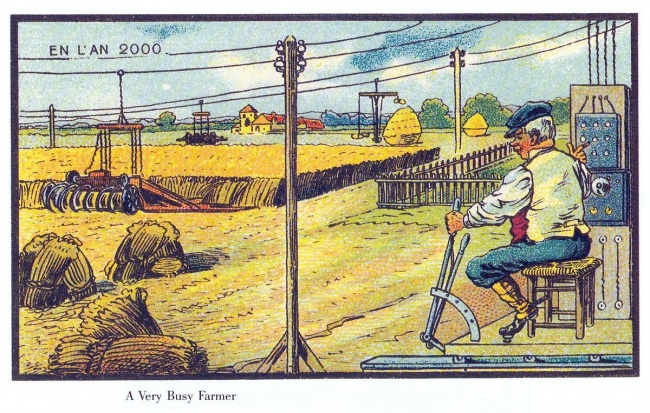 Farmers cultivating their lands simply by sitting in front of an electric device, pressing buttons and handling a lever