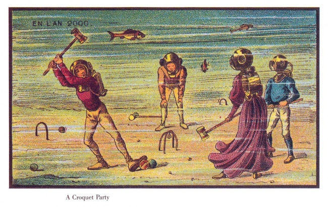 People playing croquet at the bottom of the sea