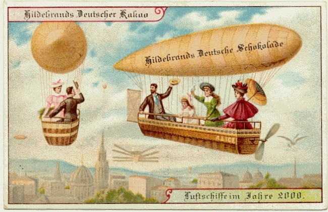People using airships as an everyday form of transportation