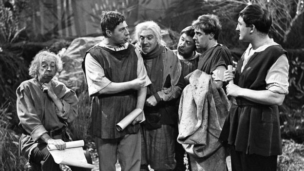 Peter Sallis (third from right) as Snug in a 1958 production of A Midsummer Night's Dream