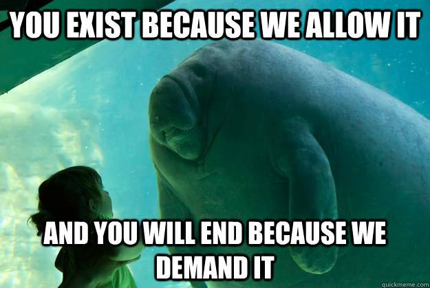 You exist because we allow it and you will End because we demand it