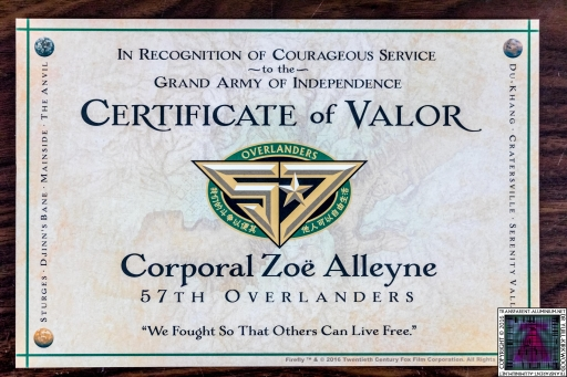 Certificate Of Valor Zoe