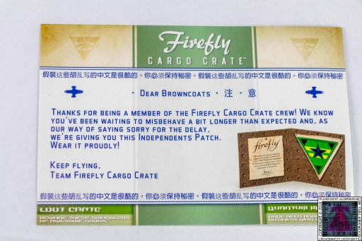 Firefly Cargo Crate Letter