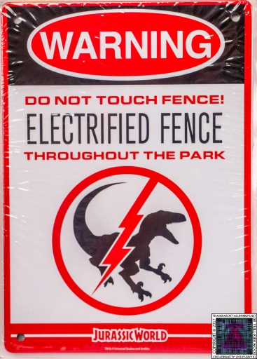 Jurassic World Warning Sign