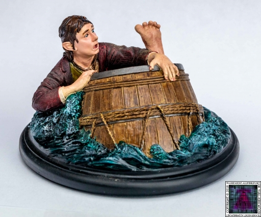Bilbo Baggins Barrel Rider Sculpture
