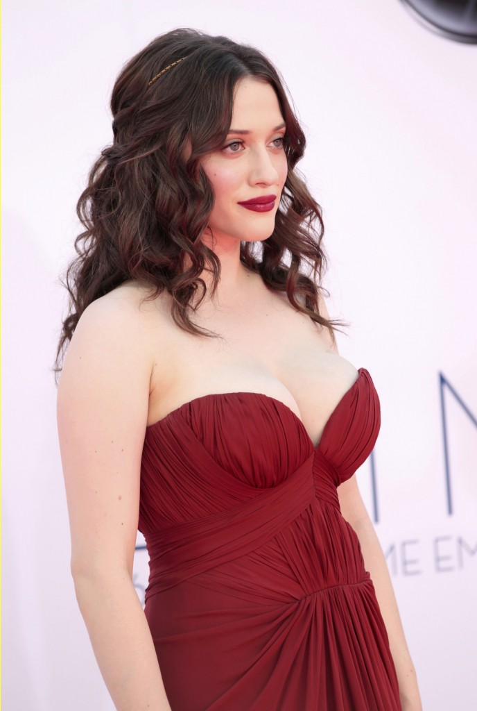 "Actress Kat Dennings, of the comedy series ""Two broke Girls,"" arrives at the 64th Primetime Emmy Awards in Los Angeles"