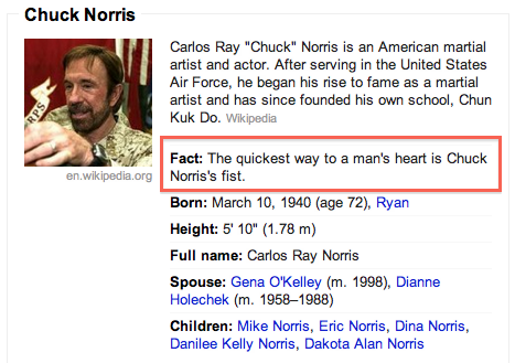 The Quickest way to a man's heart is Chuck Norris's fist