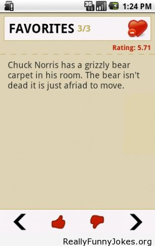 Chuck Norris has a grizzly bear carpet in his room.  The bear isn't dead its just afraid to move