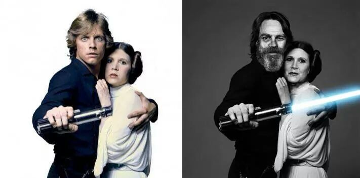 Carrie Fisher and Mark Hamill Recreating Classic Photos