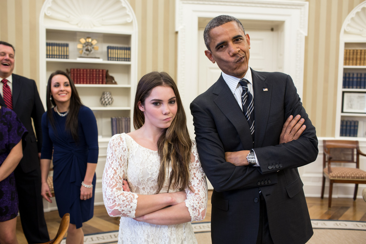 Barack Obama meets Olympic gymnast McKayla Maroney