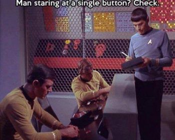 Picture Imp: Man Staring at a single button?