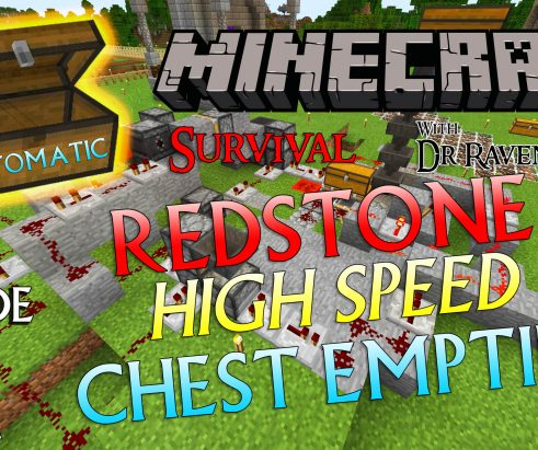 Minecraft Survival Episode 11 – Automatic Redstone High Speed Full Chest Emptier
