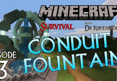 Minecraft Survival: Episode 3 – Conduit Fountain Pedestal
